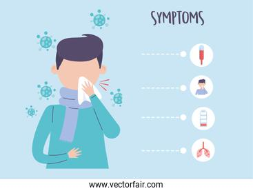 covid 19 pandemic infographic, man with cough and symptoms coronavirus disease