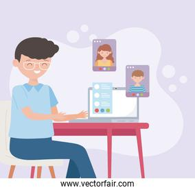 meeting online, businessman on computer screen talking with their team