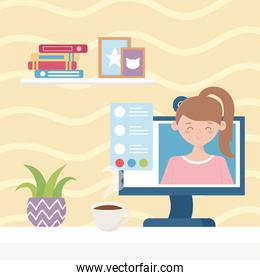 meeting online, woman on screen virtual work from home