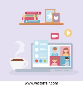 meeting online, laptop conference work from home business people coffee cup