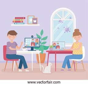 meeting online, man and woman with laptop working virtual, stay at home