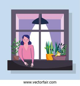 stay home quarantine, woman looking at the window with facade of the building