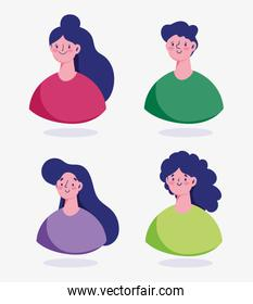 portrait man and women cartoon characters avatar isolated design