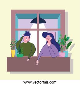 stay at home quarantine, happy couple in window with potted plants and lamp decoration
