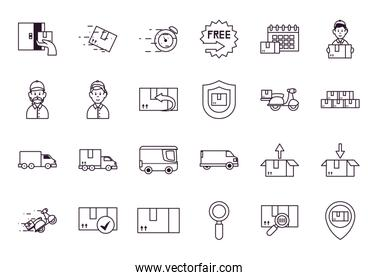 packages and fast delivery icon set, line style