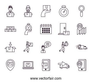 chronometer and fast delivery icon set, line style