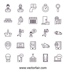technology devices and fast delivery icon set, line style