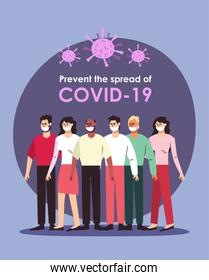 Covid19 prevention concept, people standing with mouthmasks