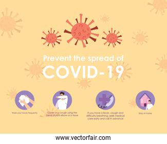 Design of the prevention the covid 19 with the precautions steps, colorful design