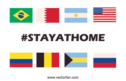 stay home design, world flags over white background