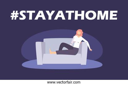 stay at home concept, woman lay in the couch