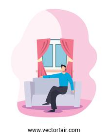 stay at home concept, man inside the house sitting on the couch