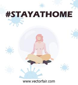 stay at home concept, woman doing yoga icon