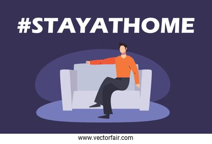 stay at home concept, man sitting on the couch