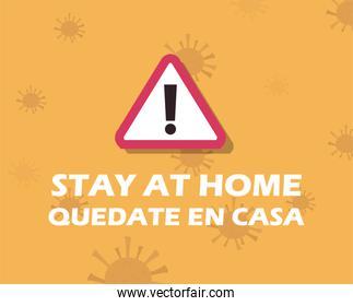 stay at home design with warning sign icon
