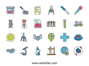 chemical and science icon set, flat style