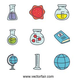 books and science icon set, flat style