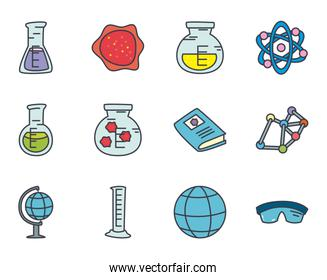chemical flasks and science icon set, flat style