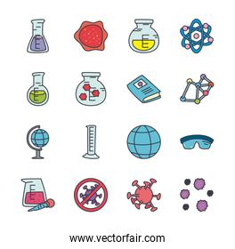 flasks and science icon set, flat style