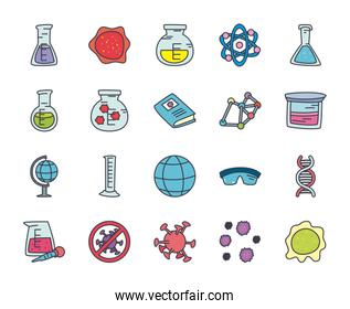 global sphere and science icon set, flat style