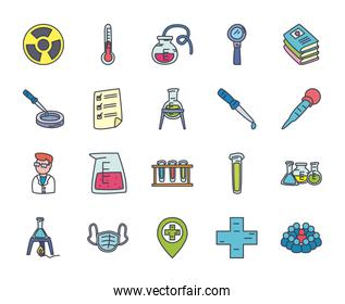 medicine and science icon set, flat style