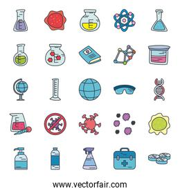 bottles and science icon set, flat style
