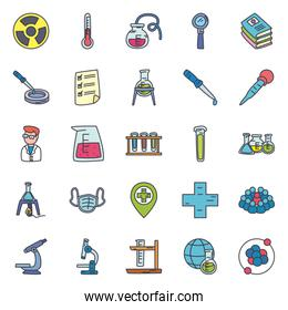 chemistry and science icon set, flat style