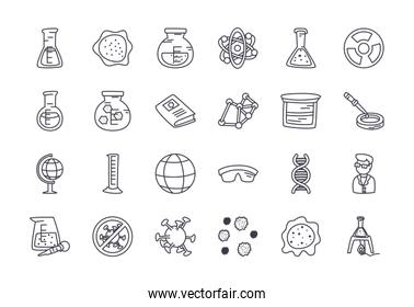 geography tool and science icon set, line style