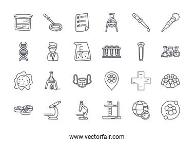 chemical and science icon set, line style