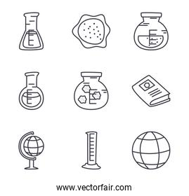 books and science icon set, line style