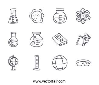 chemical flasks and science icon set, line style