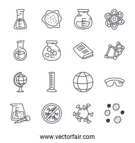 medicine and science icon set, line style