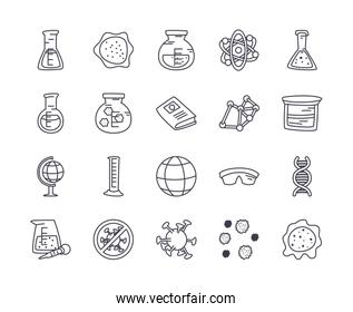 global sphere and science icon set, line style