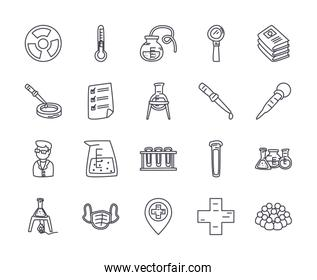 flasks and science icon set, line style