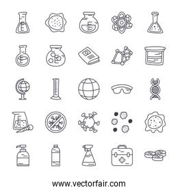 bottles and science icon set, line style