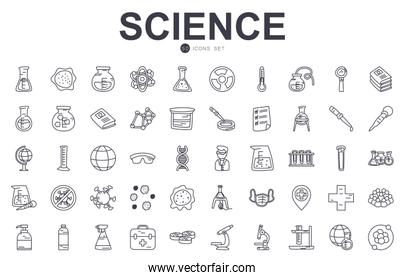 science icon set, line style
