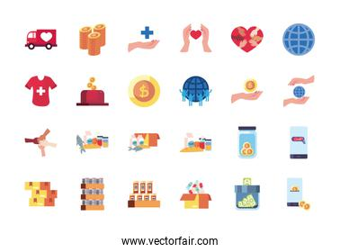 money and charity donations icon set, flat style