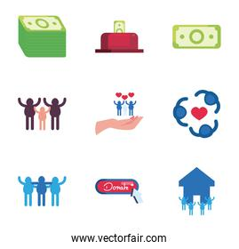 people, charity and donations icon set, flat style