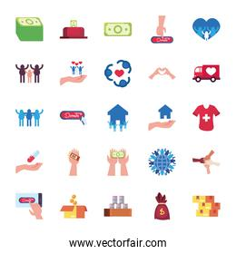 money bills and charity donations icon set, flat style