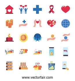 global sphere and charity and donations icon set, flat style