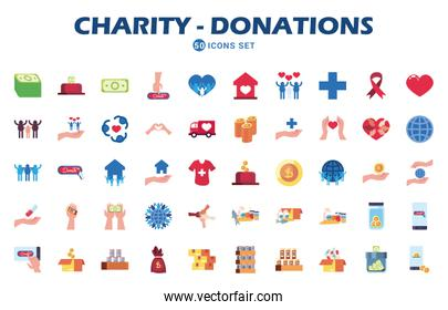 charity and donations icon set, flat style