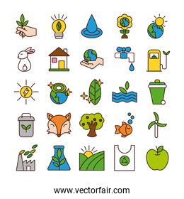 bundle of planet ecology set icons
