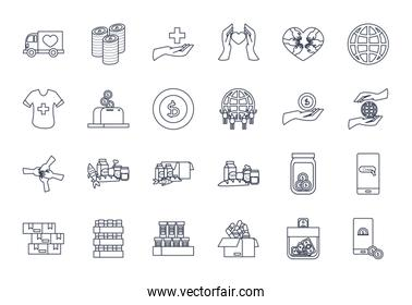 money and charity donations icon set, line style