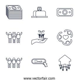 people, charity and donations icon set, line style