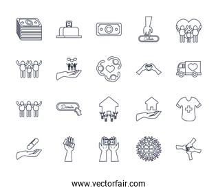 hearts and charity donations icon set, line style