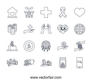 medical aids, charity and donations icon set, line style