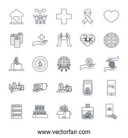 global sphere and charity and donations icon set, line style