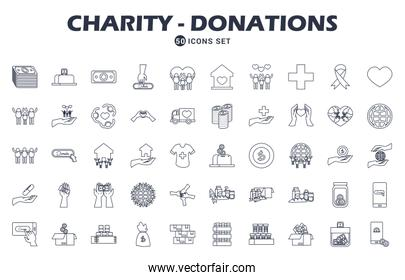charity and donations icon set, line style