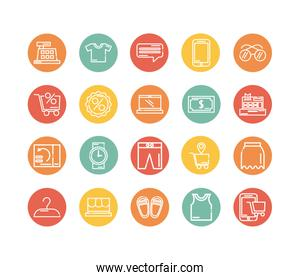 set of icons shopping block and flat style icon