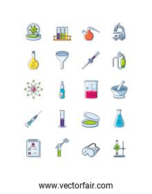 set of icons laboratory research